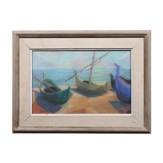 "Egon Persson ""Rowboats"" Pastel Drawing"