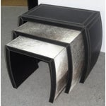 Image of Hair on Black Leather Nesting Tables - Set of 3