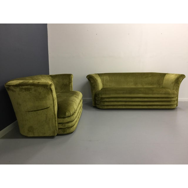 Chartreuse Art Deco Inspired Sofa & Loveseat - A Pair - Image 4 of 7