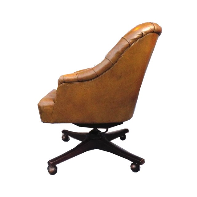 Image of Chesterfield Khaki Leather Barrel Office Chair