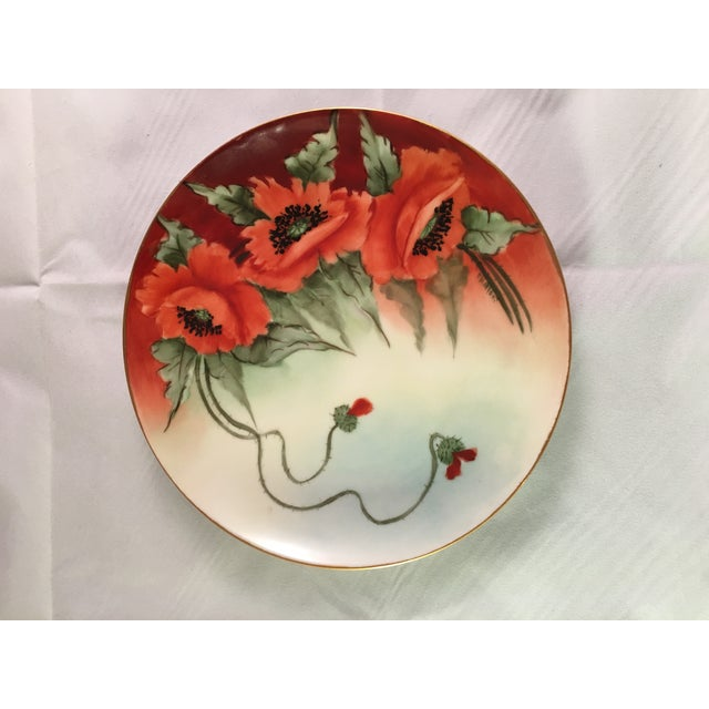 Limoges France Decorative Poppy Plate - Image 4 of 8