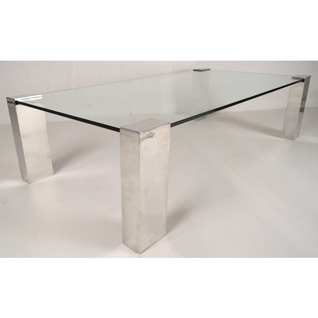 Mid-Century Modern Chrome & Glass Coffee Table - Image 3 of 6