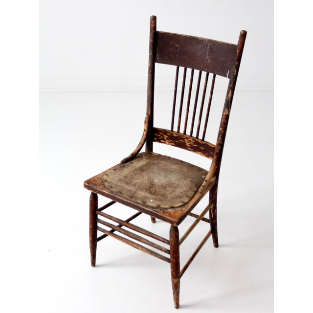 Antique Pressed Leather Seat Spindle Back Chair Chairish - Antique Leather Chair Seats - Best 2000+ Antique Decor Ideas