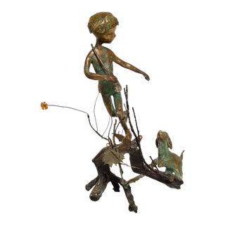 """Antique """"Boy & Dog"""" Bronze Sculpture"""