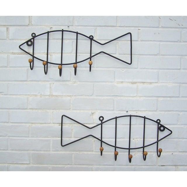 Vintage Pair Iron & Wood Fish Coat Hooks - 2 - Image 2 of 7