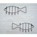 Image of Vintage Pair Iron & Wood Fish Coat Hooks - 2
