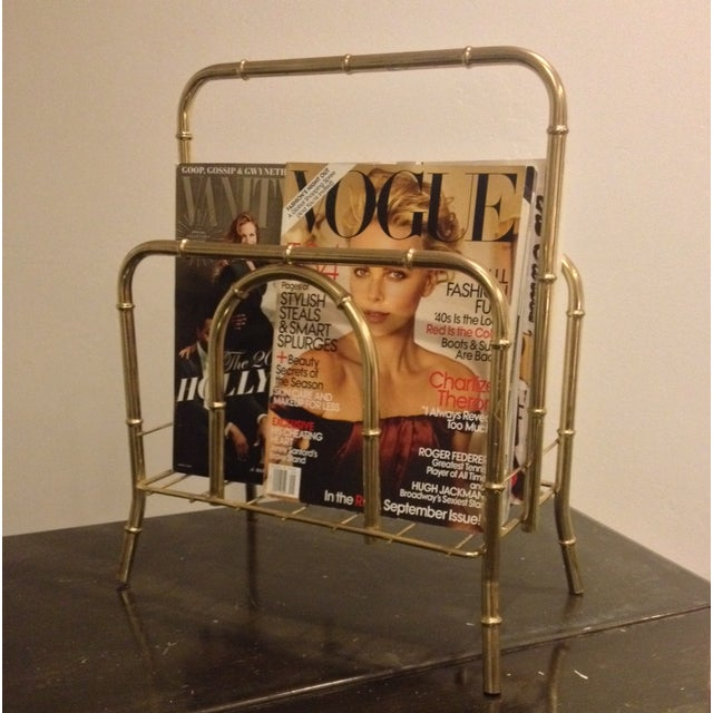 Faux Bamboo Brass Magazine Holder - Image 4 of 5