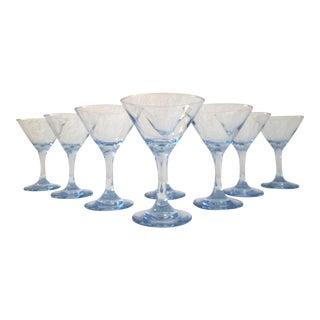 Vintage Powder Blue Martini Glasses - Set of 8