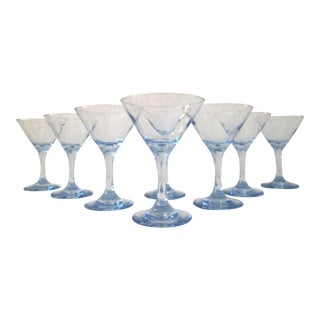 Vintage Powder Blue Martini Glasses - Set of 8