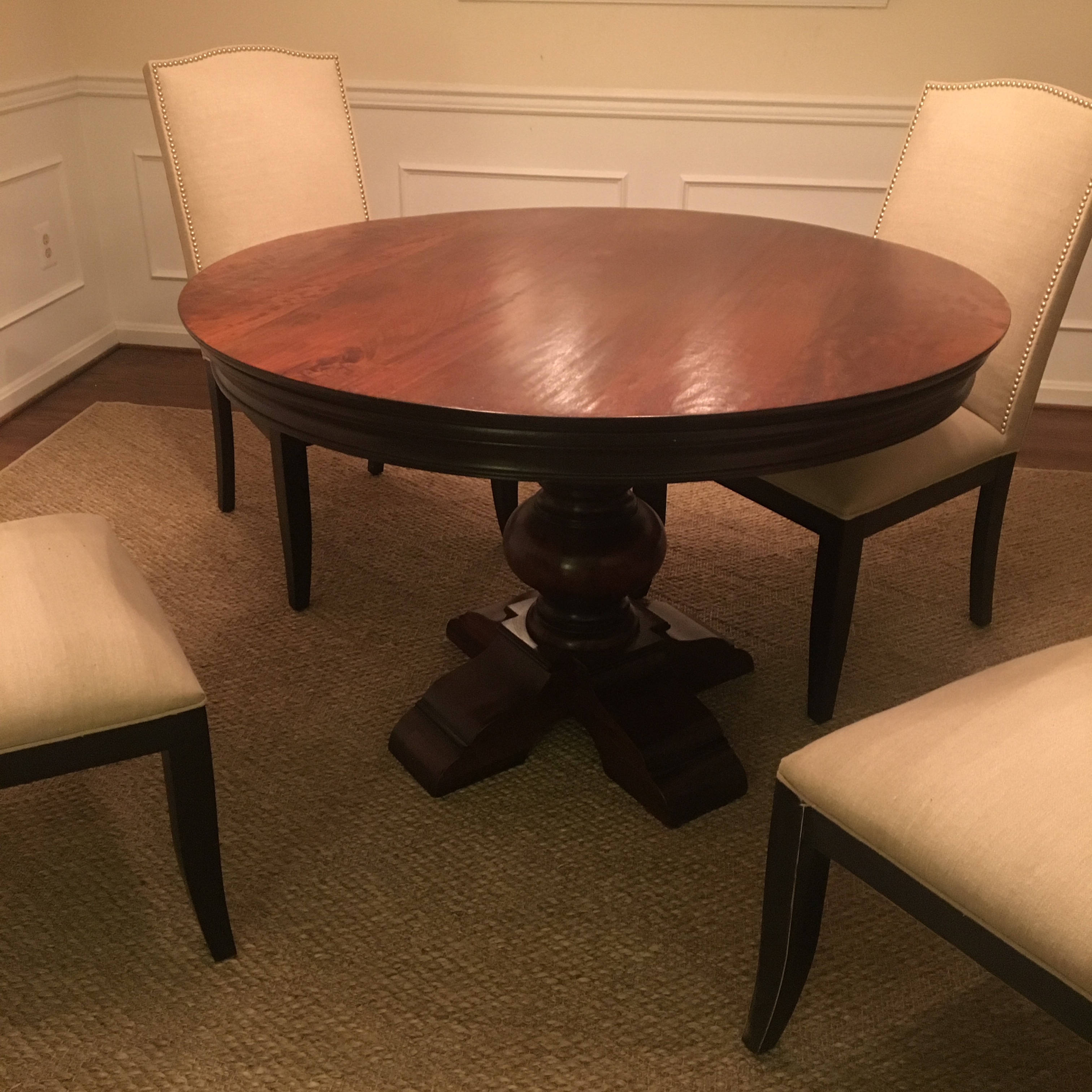 arhaus round dining table arhaus traditional dining table chairish 870