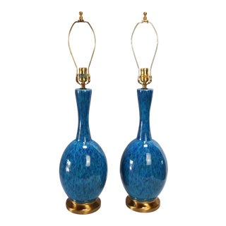 Mid-Century Drip Glaze Lamps - A Pair