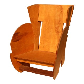 Vintage Jigsaw Maple Plywood Chair