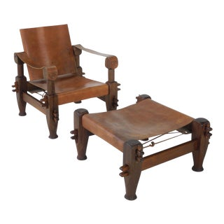 Safari/Campaign Style Rosewood Chair & Ottoman