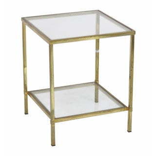 Mid-Century Modern Brass & Glass Side Table