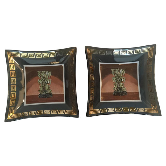 Image of Vintage Italian Glass Trays Attr. to Versace- Pair