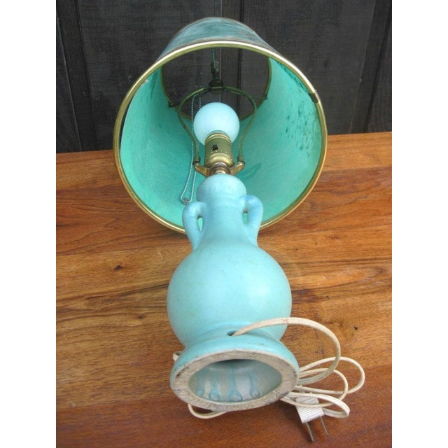Van Briggle Turquoise Butterfly Lamp - Image 6 of 8