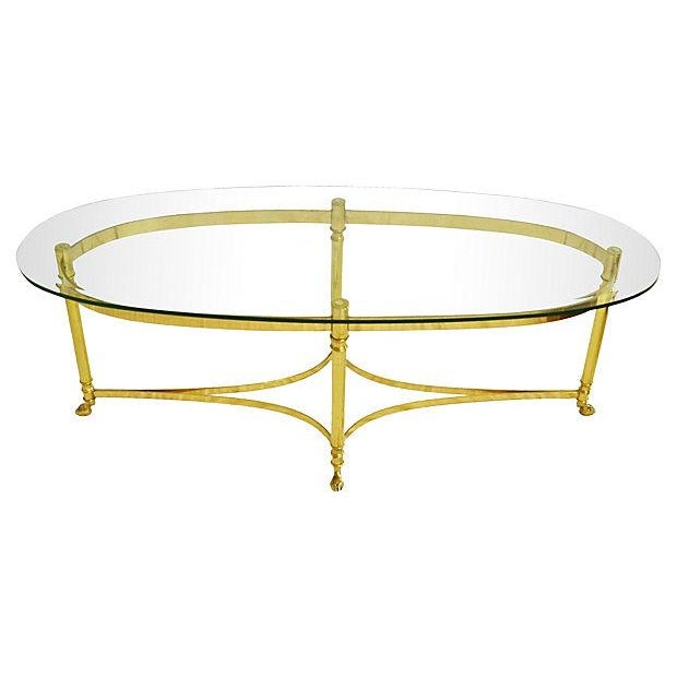 LaBarge Oval Brass Cocktail Table