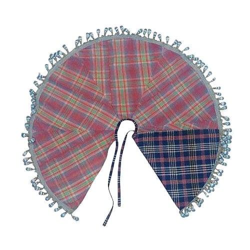 Handwoven Vintage Madras Christmas Tree Skirt - Image 1 of 6