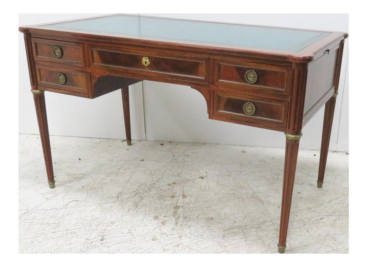 maison jansen style mahogany leather top desk