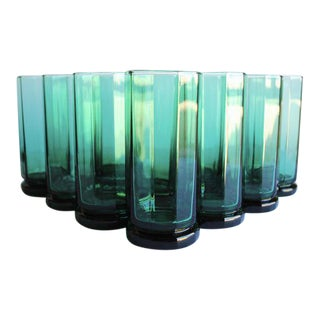 Vintage Green Highball Glasses, Set of 10