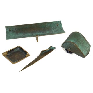 1950s Vintage Austrian Bronze Desk Set