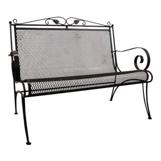 Vintage Black Iron Outdoor Floral Pattern Patio Bench