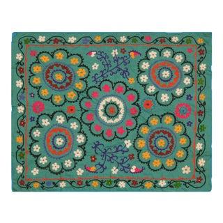 Vintage Uzbeki Suzani Turquoise Cotton Rug - 5'x6'2″