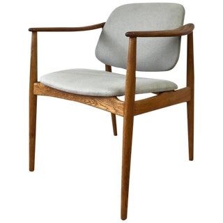 "Rare Arne Vodder for Bovirke ""BO92"" Oak Armchair With Pivoting Backrest"