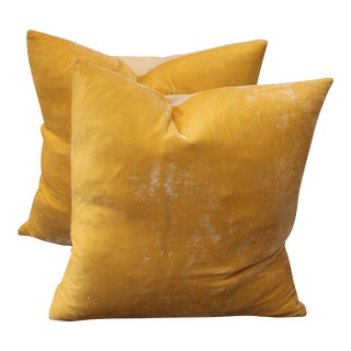 Pair of Golden Yellow Velvet Pillows