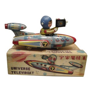 Vintage Universe Televiboat Tin Space Ship With Box