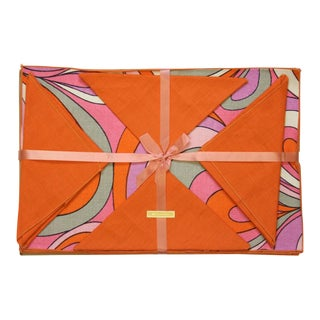 1960's Orange & Pink Swirl Linen Place Mats & Napkins - Set of 6