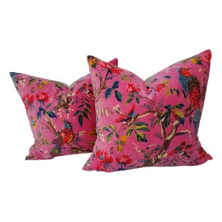 Pink Floral Cotton Velvet Pillows - A Pair
