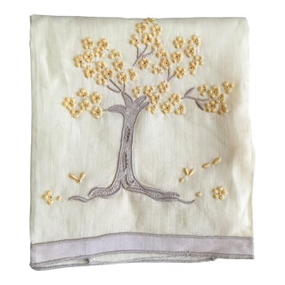 Vintage Embroidered Tree Tea Towel