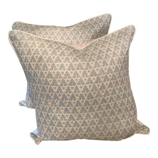 """Quadrille Volpi 22"""" Blue Pillows - A Pair"""