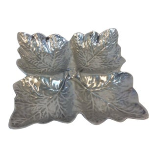 Pewter Leaves Design Serving Dish