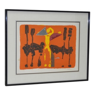 "Marino Marini ""Chevaux et Cavaliers"" Artist Proof Pencil Signed Lithograph, Circa 1970"