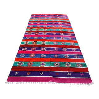 Striped Turkish Kilim Rug - 4′2″ × 8′7″