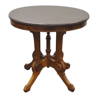 Antique Victorian Marble Top & Walnut Oval Eastlake Side Table