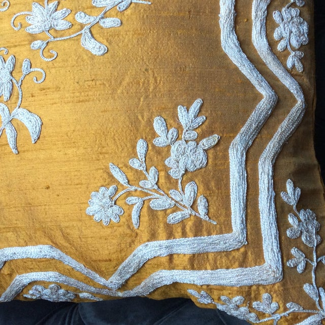 Image of Copper Silk Embroidered Accent Pillow Cover