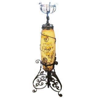 Victorian Kerosene Floor Lamp With Floral Design