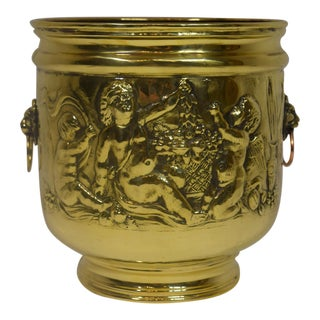 Large Late Victorian English Brass Planter