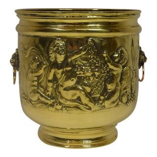 Large Late Victorian English Brass Planter