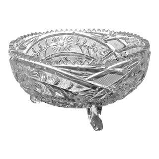 American Brilliant Period Floral Glass Bowl