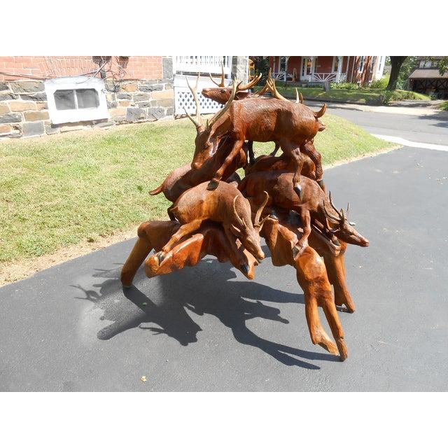 Image of Vintage Hand Carved Deer Antler Sculpture