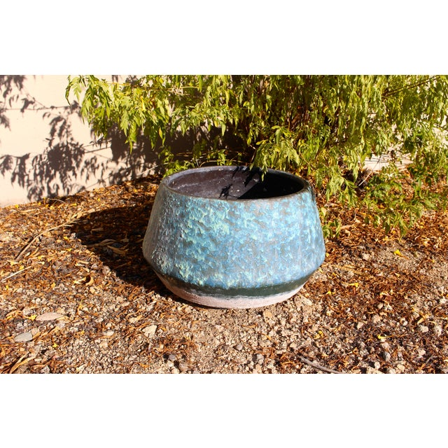 Mid-Century Blue Fat Lava Glaze Drip Planter Pot - Image 8 of 10
