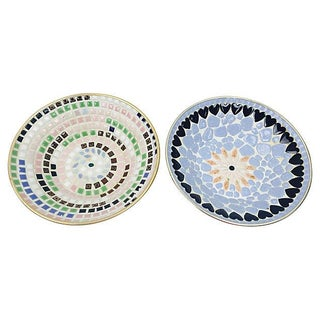 Mid-Century Multi-Color Mosaic Catchalls - A Pair
