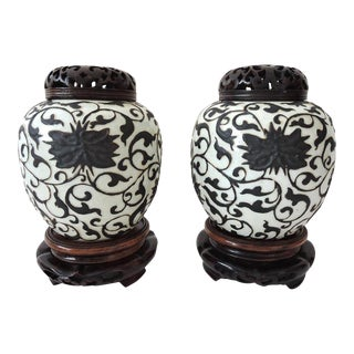 Iron Brown & White Ginger Jars - a Pair