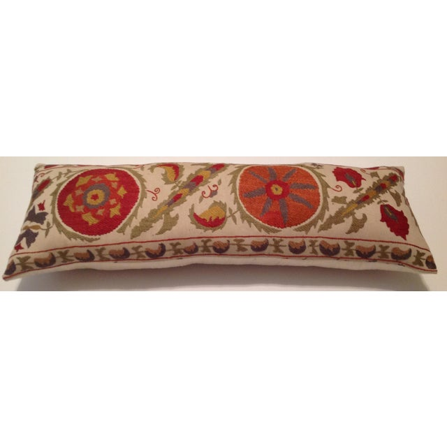 Red & Tan Silk Embrodery Suzani Pillow - Image 7 of 10
