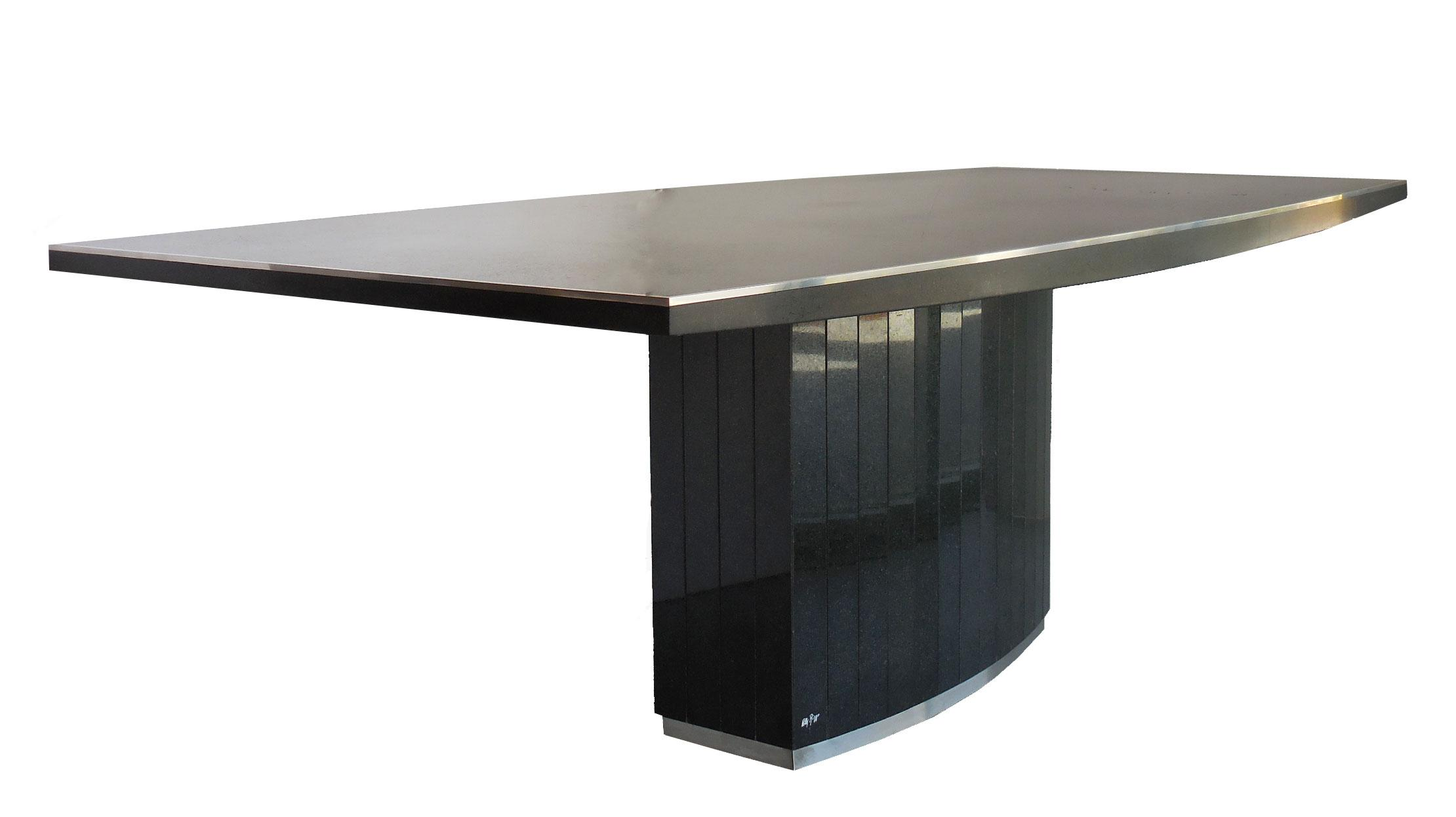 rare black granite and stainless steel dining table by willy rizzo image 6 of 8