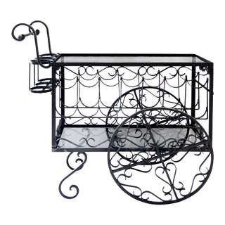 Wrought Iron Bar Cart and Bottle Storage
